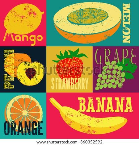 pop art grunge style fruit