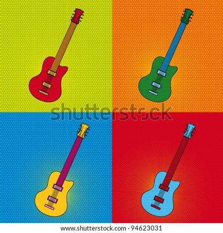 pop art guitar over colorful tiled background. vector illustration