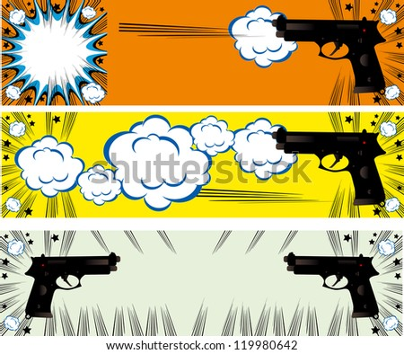 Pop art guns banners set styled illustration on a crime based theme boom