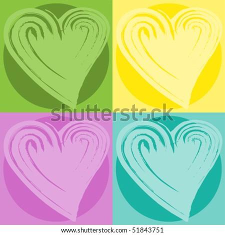 pop art wallpapers. stock vector : pop art hearts-