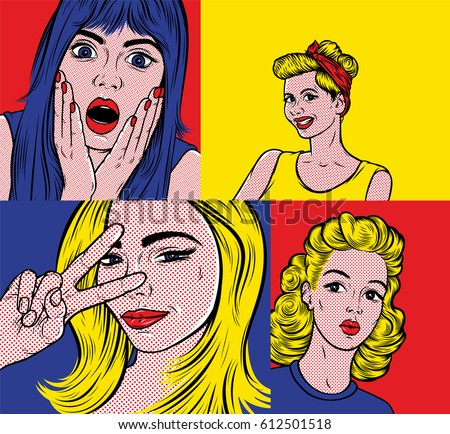 Pop art illustrations set. Smiling young women in Roy Lichtenstein style. Retro comic book background set.