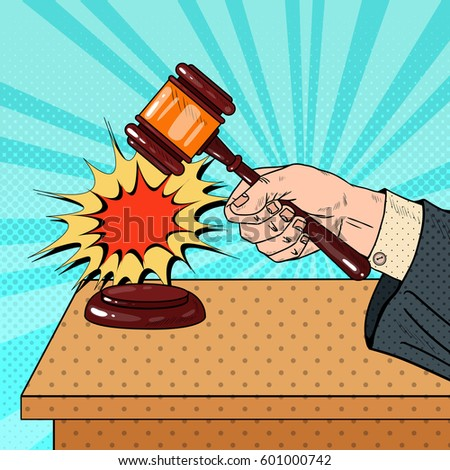 Pop Art Judge Hitting Wooden Gavel in a Courtroom. Vector illustration