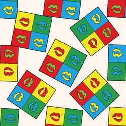 pop art lipstick , cartoon seamless pattern background