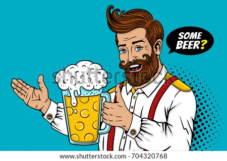 Pop art male face. Sexy bearded man open smile and big mug of beer in his hand with thumb up and some beer? speech bubble. Vector colorful illustration in retro comic style. Party invitation poster.