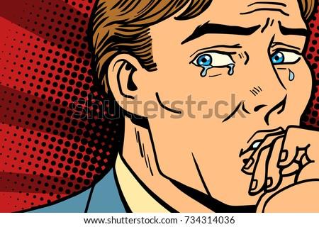 Pop art man crying in depression