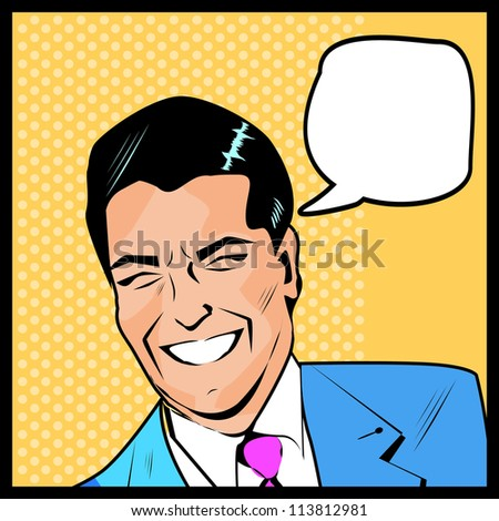 Pop Art Man dot and color layers happy businessman talking banner