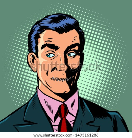 pop art man mouth locked censorship secret. Pop art retro vector illustration drawing