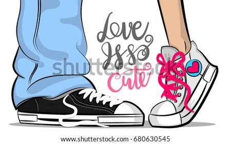 Pop art man woman doodle sneakers legs blue jeans shoelace romantic. Philosophy lettering love comic text phrase. Cartoon colored sketch vector illustration. Funny love Valentines Day doodle sneakers
