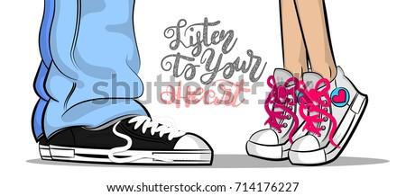 pop art man woman sneakers legs