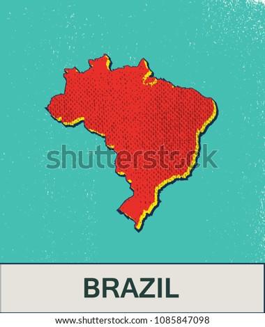 Pop art map of Brazil
