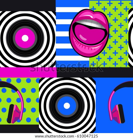 pop art musical pattern with