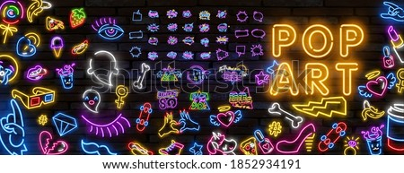 Pop art neon light sign. Bright signboard, light banner. Vector illustration Pop art icons set. Pop art neon sign. Set of neon stickers, pins, patches in 80s-90s neon style.