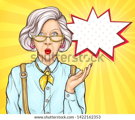 pop art old woman with