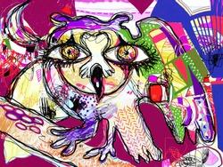 pop art original artwork contemporary digital painting of doodle fantasy owl with big eyes, vector illustration