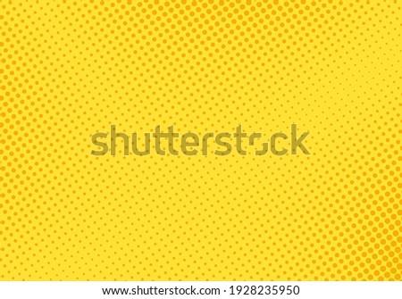 Pop art pattern. Halftone comic background. Yellow dotted print. Cartoon retro texture. Vector illustration. Duotone wallpaper with half tone effect. Gradient design. Anime banner.