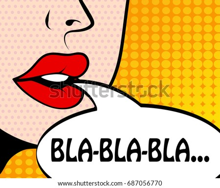 Pop art retro style comic book panel with girl talking nonsense small talk chatter in speech bubble vector poster design illustration