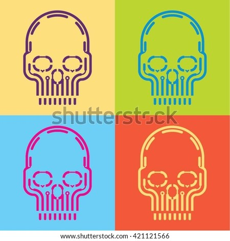 pop art skull icon