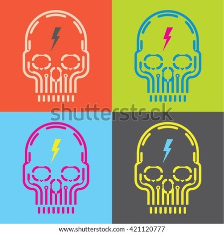 pop art skull icon with flash
