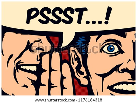 Pop Art style comic book panel gossip man whispering secret or news in ear of surprised person with speech bubble, rumour, word-of-mouth concept vector illustration