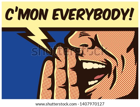 Pop Art style comic book panel man calling and yelling out loud with speech bubble, call to action concept vector illustration