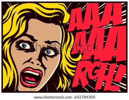 Pop Art style comic book panel with terrified woman in a panic screaming in fear vector poster design illustration