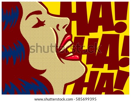 Pop art style comics panel woman laughing out loud vector poster design illustration