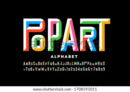 Pop art style font design, alphabet letters and numbers vector illustration