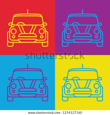 pop art style mini cooper car line vector with re purple red blue yellow ストックフォト ©