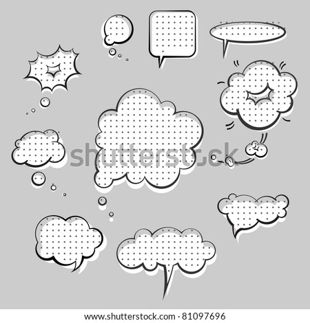pop-art style speak clouds ink graphic set