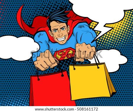 pop art superhero young  happy