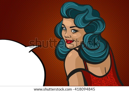 pop art surprised blonde woman