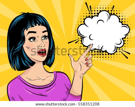 Stock Photo Pop art surprised girl in purple blouse with speech bubble and halftone effect on comic background vector illustration
