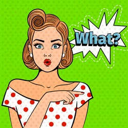 Pop art surprised lady. Young beautiful girl with what sign, pretty comic art shocked woman vector illustration