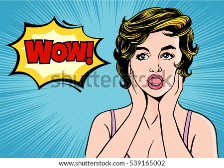 pop art surprised woman comic