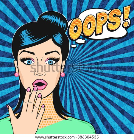 pop art surprised woman face