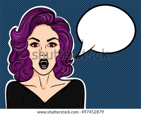 pop art vampire woman with