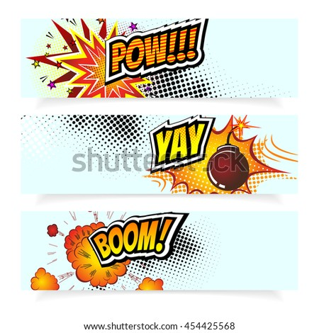 Pop Art Vector Illustration. Comic Book Design Elements. Explosion Bomb and Sound Effects on Halftone Background. Banner template Collection