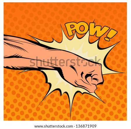 Pop art vector illustration.Fist hitting, fist punching