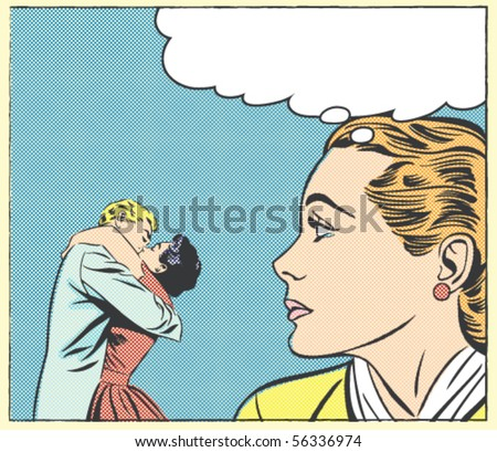 Pop art vector illustration of a crying woman and kissing couple