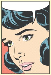 Pop art vector illustration of a speaking woman