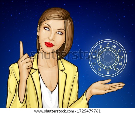 Pop art vector illustration of astrologer offering horoscope, online consultation, prediction of future events. Woman with zodiac circle predicts, gives advice, explains, index finger pointing up.
