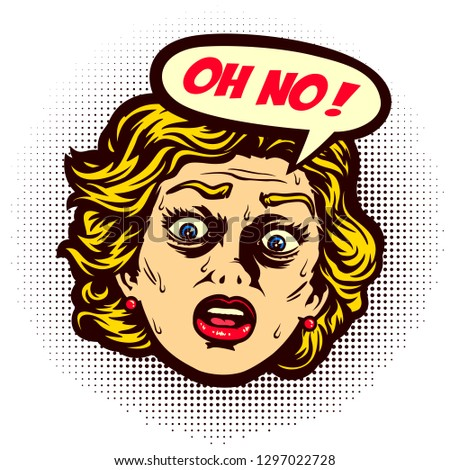 Pop art vintage comic book style disappointed woman face in a panic screaming oh no with speech bubble vector illustration