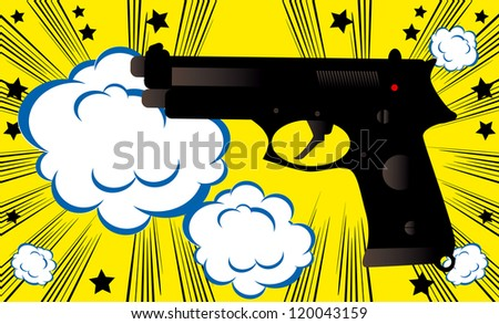 Pop art Weapon boom background banner template