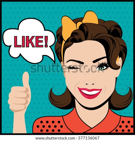 Pop art winking woman with thumbs up gesture and speech bubble. Vector illustration