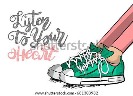 Pop art woman doodle sneakers shoelace stay think listen to heart.  Philosophy love lettering comic