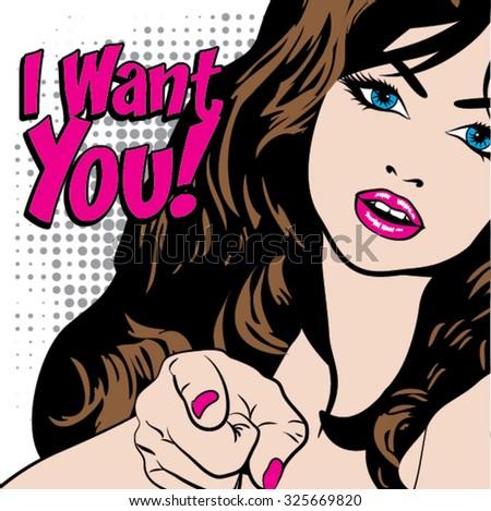 pop art woman   i want you