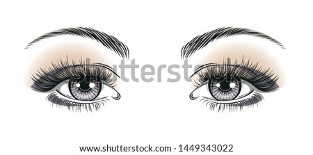 Pop art woman's sexy luxurious gray eyes with perfectly shaped eyebrows and full lashes. Template on white background for business visit card, typography vector. Perfect salon look. Makeup.