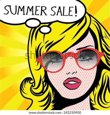 pop art woman summer sale  sign