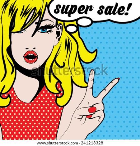 pop art woman super sale  sign