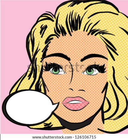 POP ART WOMAN. Vintage comics style. Vector illustration.